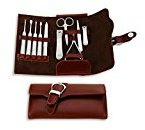 10 Piece Manicure, Pedicure, Male / Female Grooming, Nail Care Set - Padded Faux Leather Travel Carry Case.
