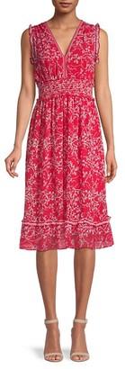 Max Studio Moody Floral-Print Ruffled Fit--Flare Dress