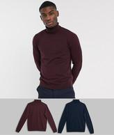 Asos Design DESIGN cotton roll neck sweater in navy / burgundy 2 pack save