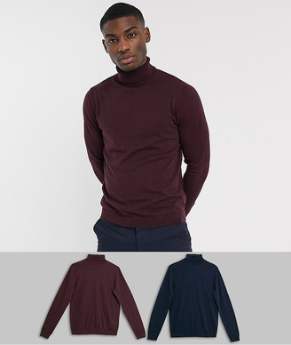 Asos Design DESIGN cotton roll neck sweater in navy / burgundy 2 pack save