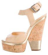 Giuseppe Zanotti Leather Cork Wedge Sandals