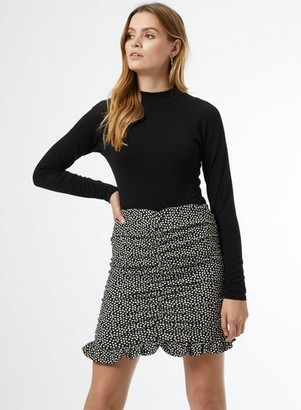 Dorothy Perkins Womens Black Spot Print Textured Mini Skirt, Black