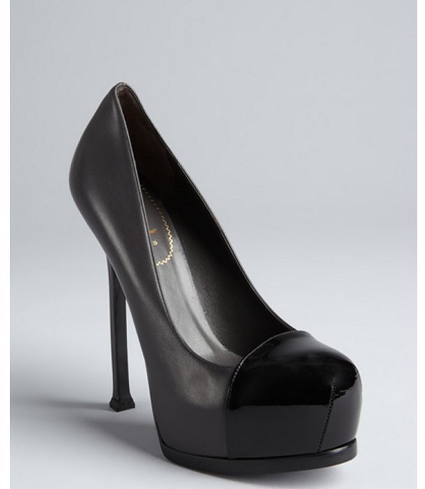 Yves Saint Laurent charcoal and black leather 'Tribute Too 105' platform pumps