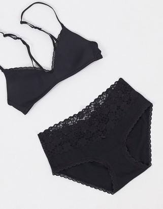 aerie solid lace boy brief in black