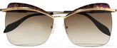 Alexander McQueen Cat-eye Tortoiseshell Acetate And Gold-tone Sunglasses - Brown