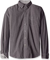 James Campbell Men's Lumberton Long Sleeve Solid with Contrast Stitch