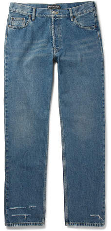 Balenciaga Distressed Stonewashed-Denim Jeans