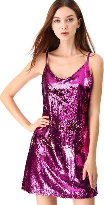 Allegra K Women's Party Glitter Adjustable Strap Mini Sparkly Sequin Dresses Rose Red 16