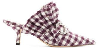 Midnight 00 Crystal-moon Checked Cotton Mules - Womens - Burgundy White
