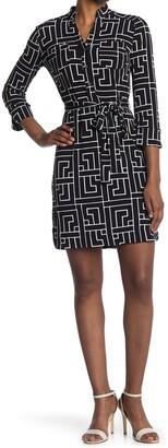 Donna Morgan Printed Waist Tie Shirt Dress