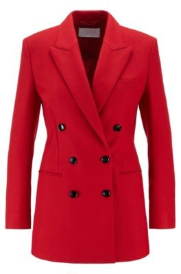 HUGO BOSS Double Breasted Regular Fit Long Jacket With Peak Lapels - Red