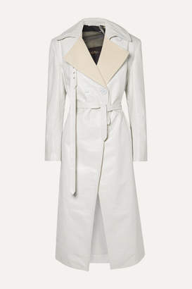 Off-White Peter Do - Canvas-trimmed Leather Trench Coat