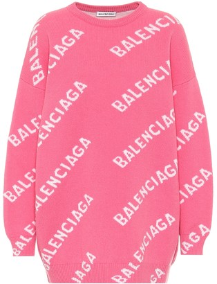 Balenciaga Logo-intarsia oversized wool sweater