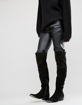 Black Suede Over The Knee Boots - ShopStyle