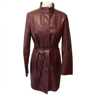 Burberry Burgundy Leather Coats