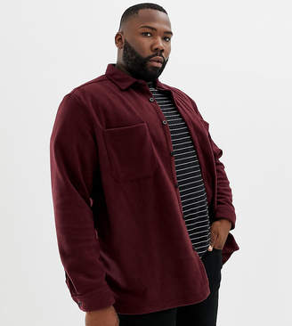 Asos Design DESIGN Plus fleece overshirt in burgundy-Red
