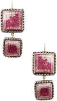Moritz Glik Women's 18K Yellow Gold, Silver & Ruby Geometric Drop Earrings