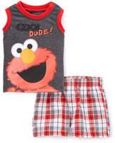 Children's Apparel Network Sesame Street Elmo 'Cool Dude!' Tank & Plaid Shorts - Infant