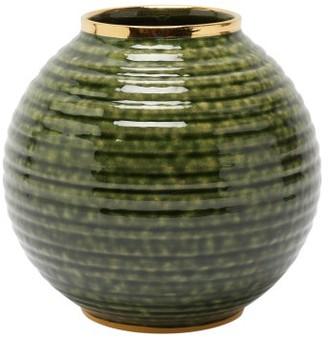 AERIN Calinda Round 10kt Gold-rimmed Ceramic Vase - Green