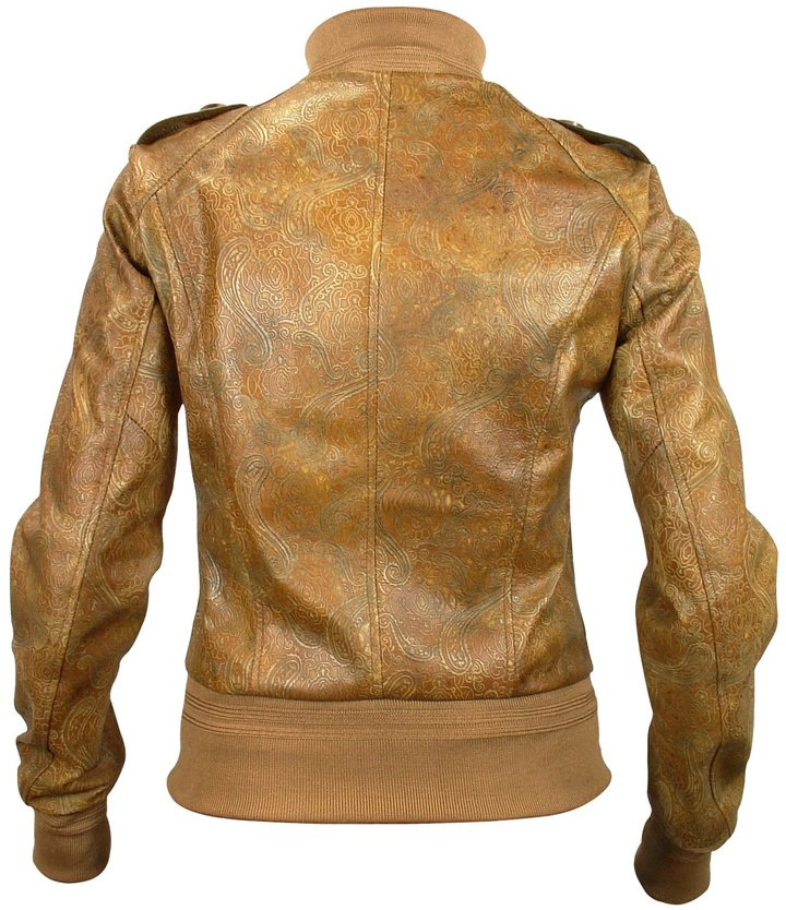 Forzieri Women's Brown Paisley Stamped Genuine Leather Jacket