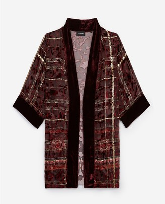 The Kooples Long embroidered velvet kimono