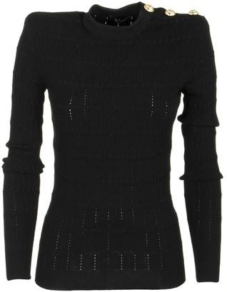 Balmain Buttoned Knit Top Black Knitwear