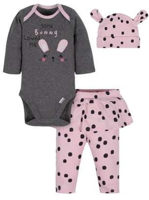 Gerber Baby Girl Onesies Bodysuit, Skirted Pant, and Cap Outfit Set, 3-Piece