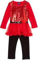 Red Glam & Sparkle Tunic & Leggings - Toddler & Girls