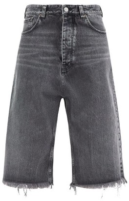 Balenciaga Frayed Cropped Jeans - Black