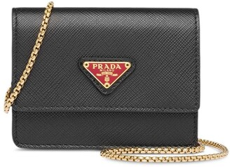 Prada Saffiano Leather Chain Cardholder