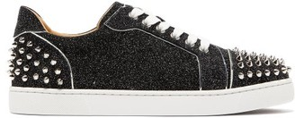 Christian Louboutin Vieira 2 Spiked Glittered-leather Trainers - Womens - Black Silver