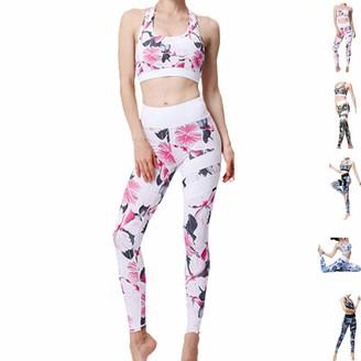 Snaked Cat Women Yoga Sport Clothes Set Two-Piece Bathing Suit U-Shaped Neck Bra Slim Leggings Sport Clothes (White Pink S)