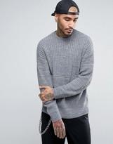 Asos Ultimate Textured Jumper In Grey
