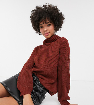 Monki high neck rib knit jumper in rust-Brown