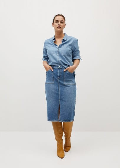 MANGO Midi denim skirt