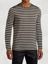 John Varvatos Striped Knit Crewneck