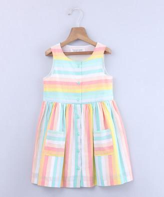 Beebay Girls' Casual Dresses Multi-col - Orange & Blue Stripe Button-Up Pocket A-Line Dress - Newborn, Infant, Toddler & Girls