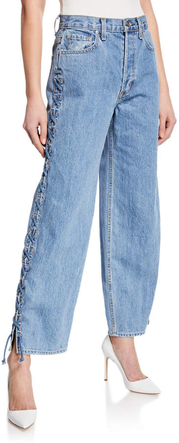 Jonathan Simkhai Nana Denim Whipstitch Lace-Up Side Jeans