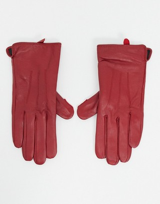 Barneys New York real leather gloves with touch screen compatibility in red