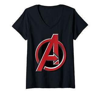 Marvel Womens Avengers Red Classic Logo V-Neck T-Shirt