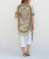Paparazzi Olive Tie-Dye Lace Open-Front Cardigan