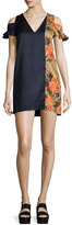 MSGM Floral-Trim Hammered Satin Cold-Shoulder Mini Dress, Black/Multicolor