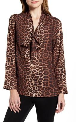 Ming Wang Leopard Print Tie Neck Shirt