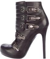 Alexander McQueen Leather Round-Toe Booties