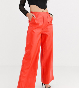 UNIQUE21 extreme wide leg trousers in faux leather co-ord