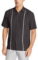 Cubavera Mens Contrast Insert Stitching Short Sleeve Woven Shirt