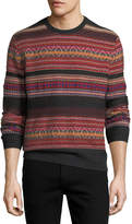 Ralph Lauren Cashmere-Blend Southwestern-Knit Striped Sweater