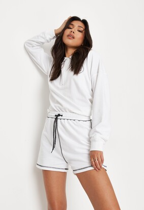 Missguided White Co Ord Contrast Stitch Jogger Shorts