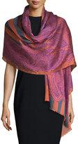 Etro Stripe & Paisley Wool-Blend Scarf, Pink/Gray