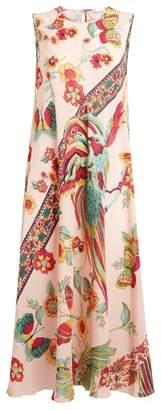 Valentino Bird of Paradise Sleeveless Midi Dress